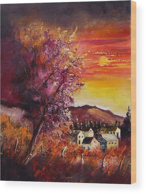 Autumn Wood Print featuring the painting Fall in Villers by Pol Ledent