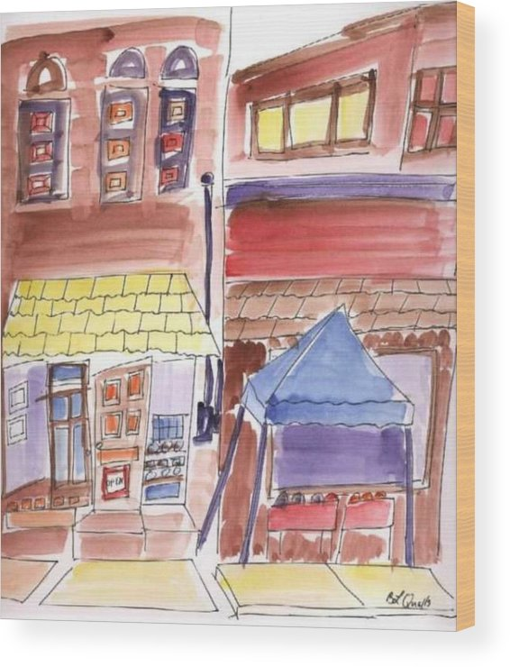 Watercolor Wood Print featuring the painting Festival in the City - 9 by B L Qualls