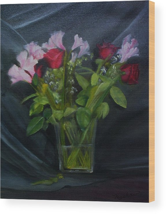 Flowers Wood Print featuring the painting Flowers for Sarah by Sheila Mashaw
