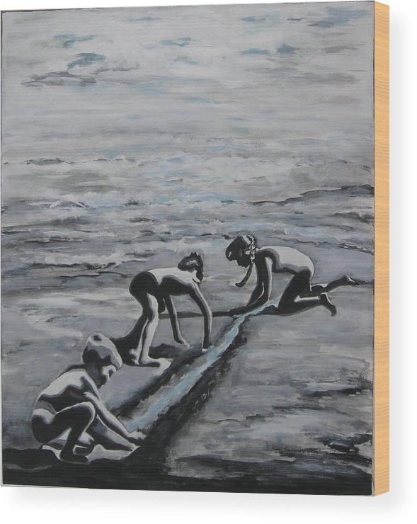 Children Playing On The Beach Wood Print featuring the painting Harnessing the Ocean by Naomi Gerrard