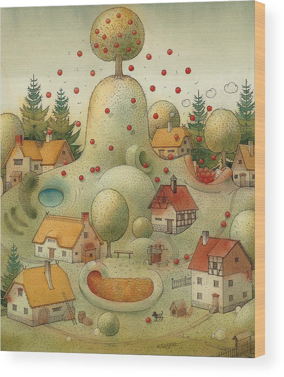 Hill Landscape House Home Apple Giant Autumn Wood Print featuring the painting Hill by Kestutis Kasparavicius
