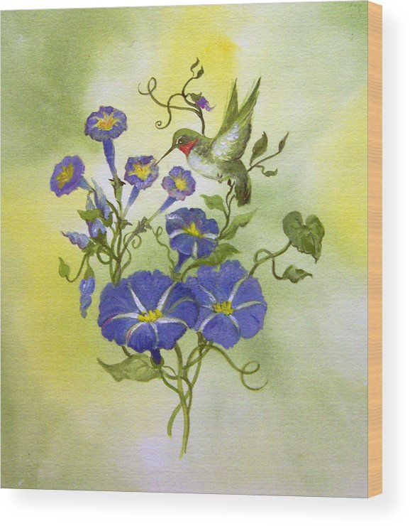 Hummingbird;bird;morning Glories;flowers;watercolor Painting; Wood Print featuring the painting Hummingbird in the Morning by Lois Mountz