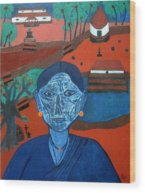 Malayali Woman Wood Print featuring the painting K 2 by Vijayan Kannampilly