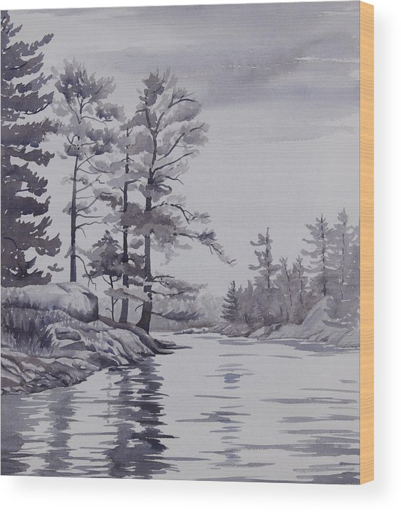 Lake Wood Print featuring the painting Lake Reflections Monochrome by Debbie Homewood