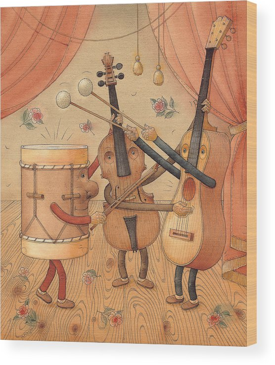 Music Instruments Guitar Violin Drums Concert Wood Print featuring the painting Musicians by Kestutis Kasparavicius