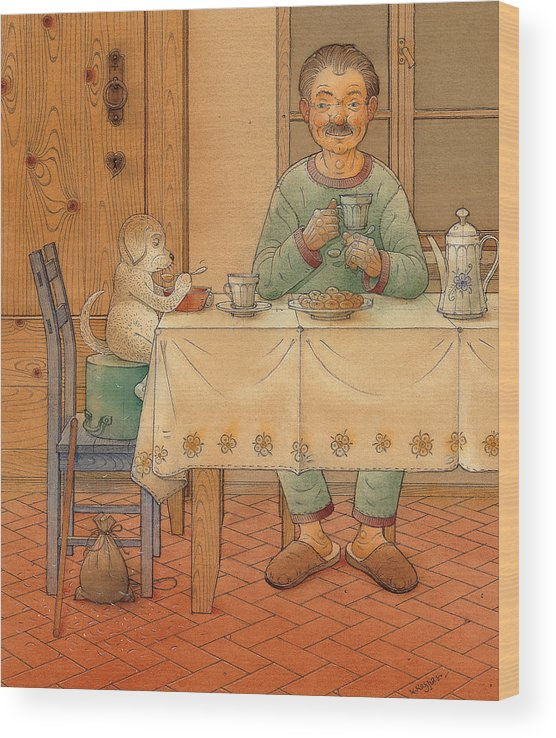 Animals Dog Figure Evening Tea Wood Print featuring the painting Mysterious Guest by Kestutis Kasparavicius