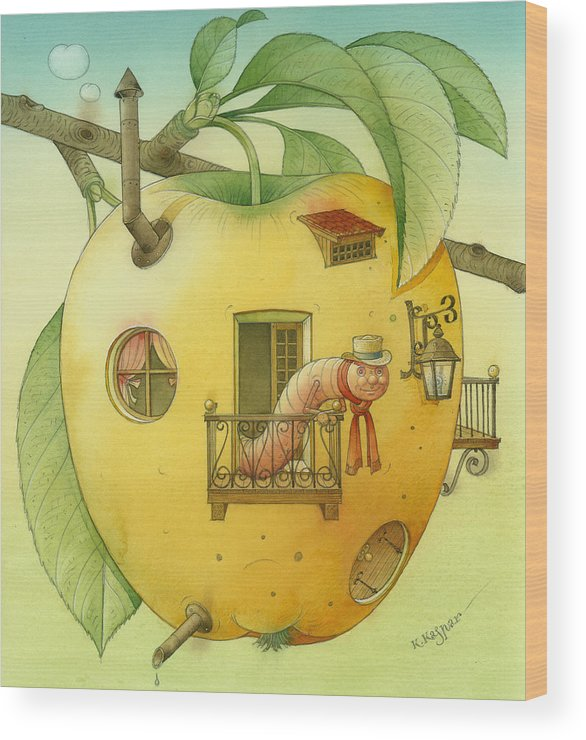 Landscape Apple Autumn Nature Illustration Yellow Home Wood Print featuring the painting New House by Kestutis Kasparavicius