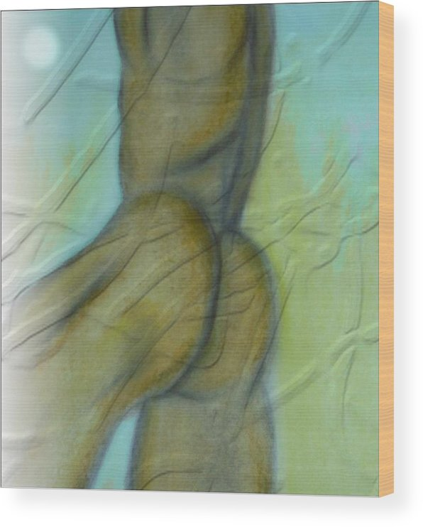 Figure Wood Print featuring the mixed media Nude by Joseph Ferguson