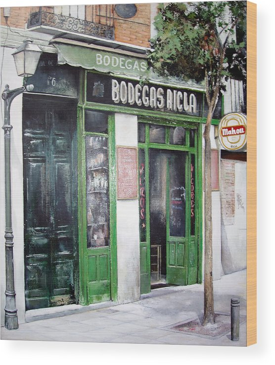 Bodegas Wood Print featuring the painting Old Tavern-Madrid by Tomas Castano