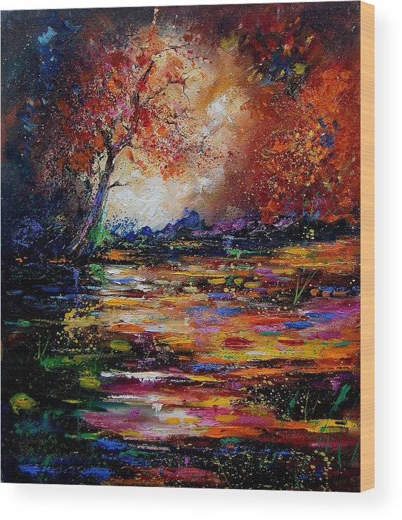 River Wood Print featuring the painting Pond 671254 by Pol Ledent