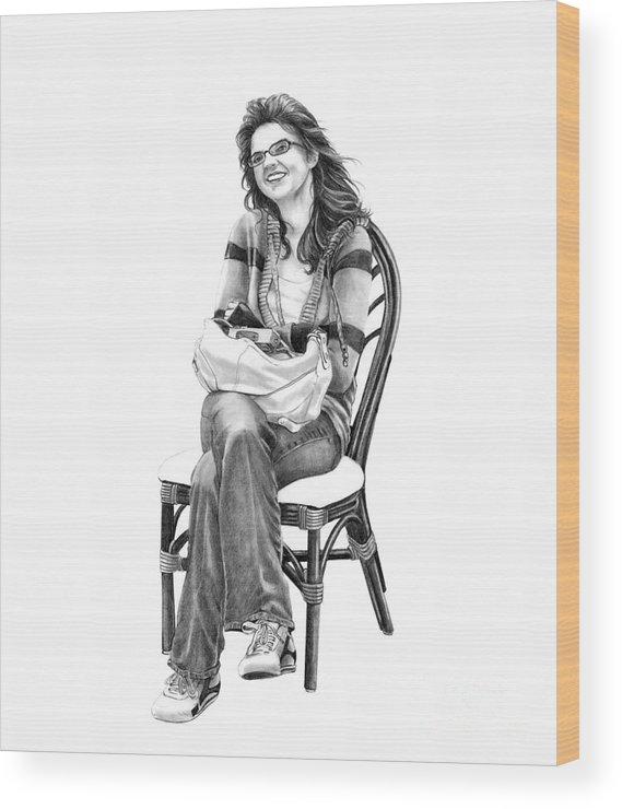 Figure Drawing Wood Print featuring the drawing Samantha Jonice Elliott by Murphy Elliott