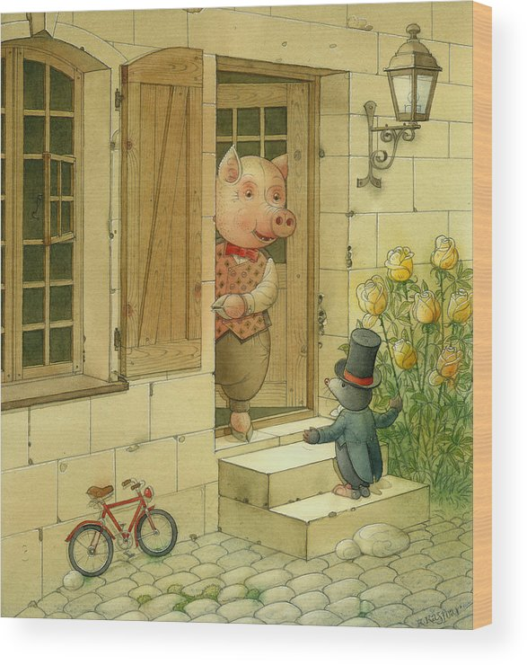 Singer Pig Mole Street Town Roses Animals Flowers Bike Window Wood Print featuring the drawing Singing Piglet by Kestutis Kasparavicius