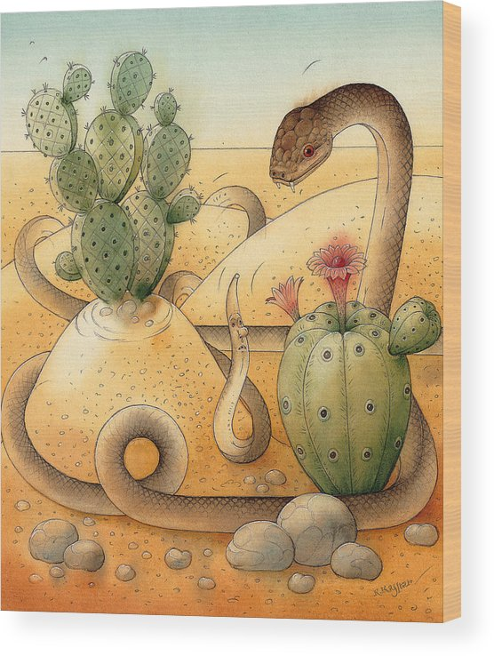 Snake Landscape Sky Cactus Wood Print featuring the painting Snake by Kestutis Kasparavicius