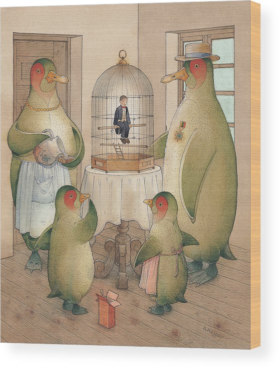 Birds Opera Penguins Kitchen Song Singing Wood Print featuring the painting Songman by Kestutis Kasparavicius