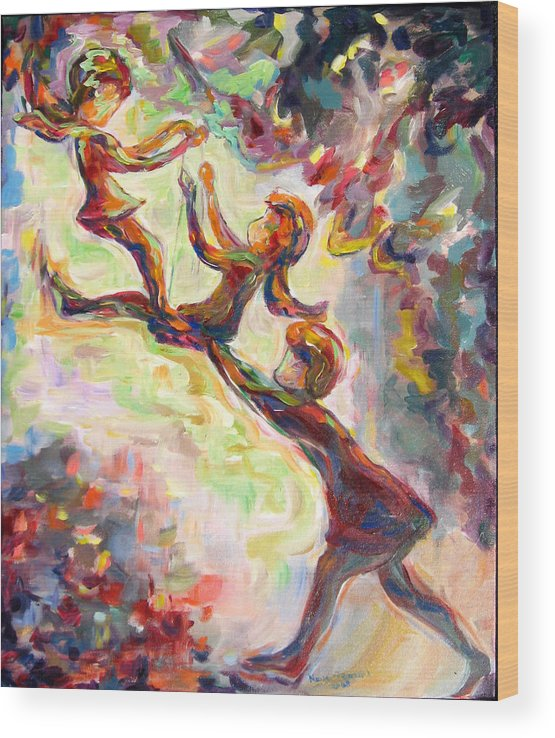Children Swinging Wood Print featuring the painting Swinging High by Naomi Gerrard