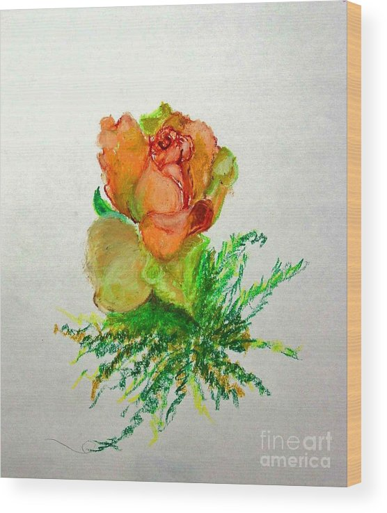Greeting Card Wood Print featuring the painting Tea Rose            copyrighted by Kathleen Hoekstra