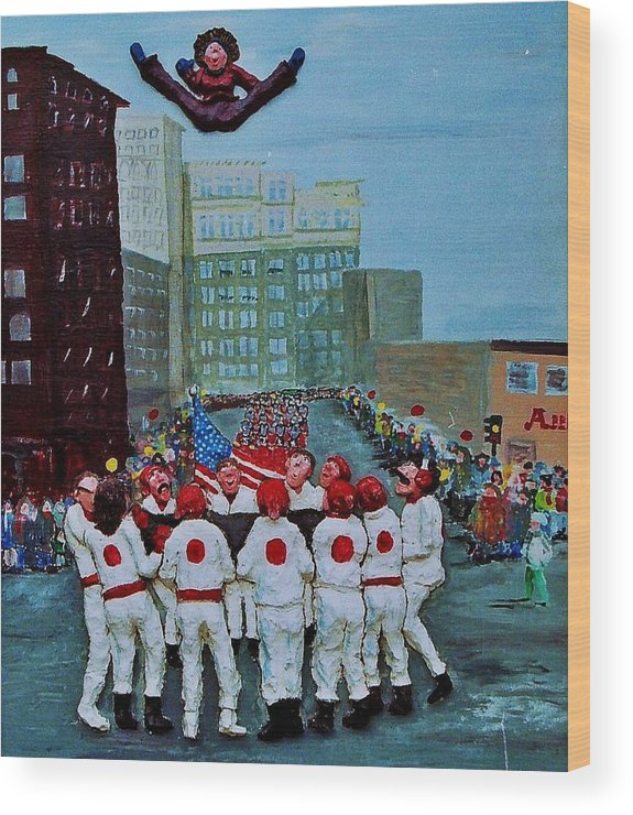 Street Wood Print featuring the relief The blanket toss by Richard Hubal