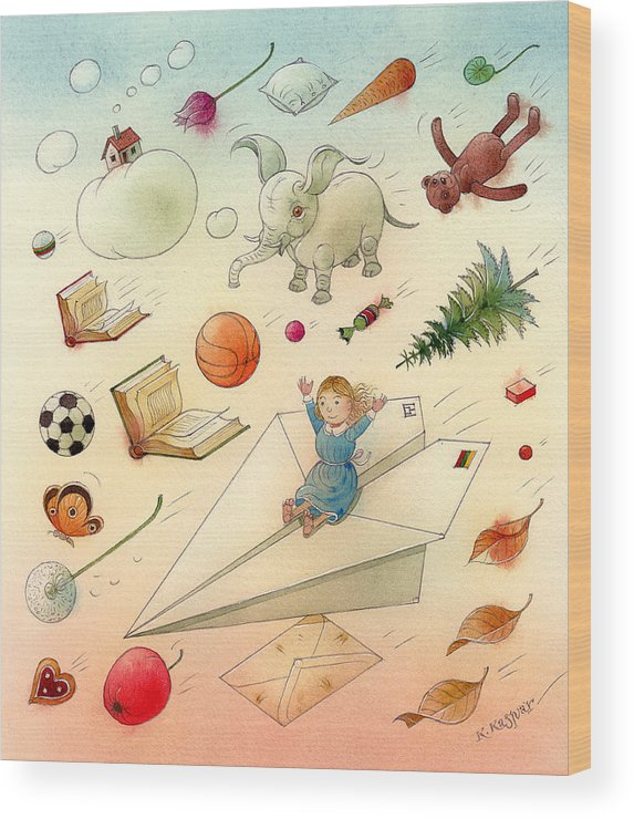 Dream Flying Children Toys Books Sky Wood Print featuring the painting The Dream by Kestutis Kasparavicius