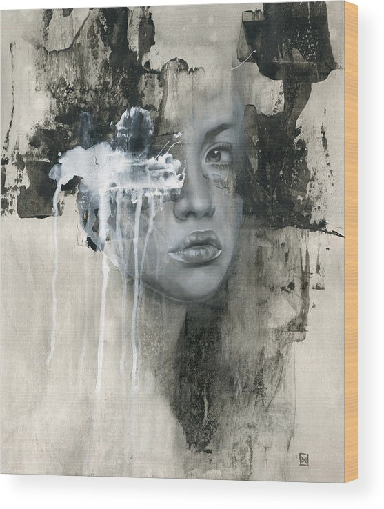 Woman Wood Print featuring the painting There Is No Going Back by Patricia Ariel
