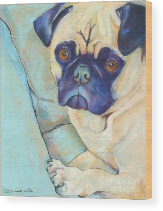 Pug Wood Print featuring the pastel Valentino by Pat Saunders-White