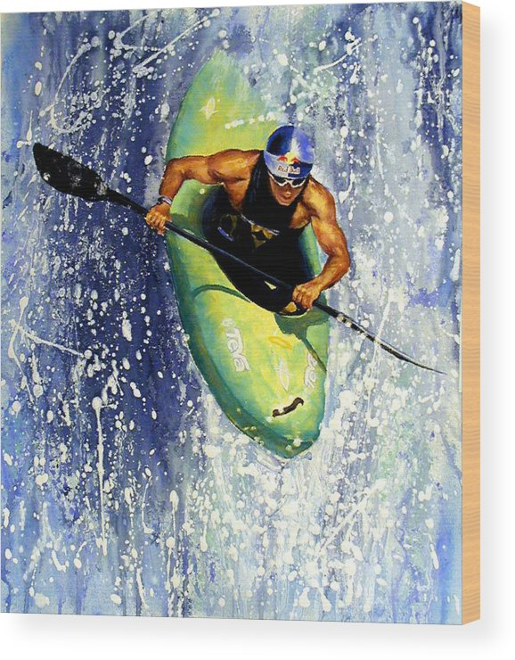 Kayaker Wood Print featuring the painting Whitewater Kayaker by Lynee Sapere