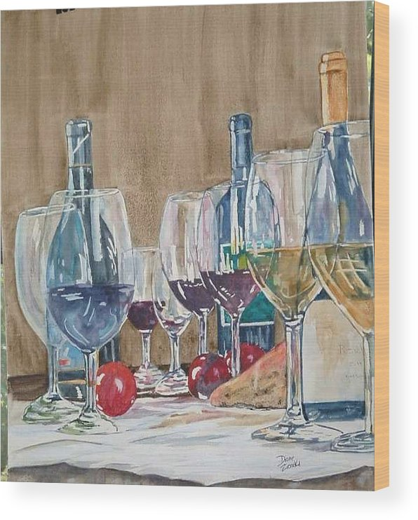 Wood Print featuring the painting Wine 2 by Diane Ziemski
