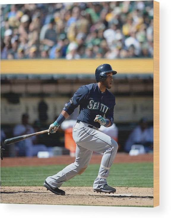 American League Baseball Wood Print featuring the photograph Seattle Mariners V Oakland Athletics by Thearon W. Henderson
