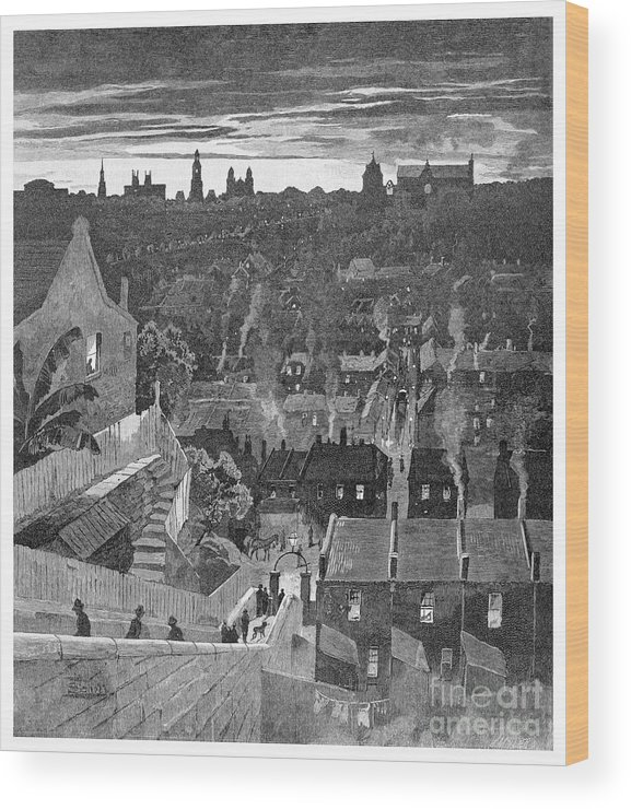 Engraving Wood Print featuring the drawing A Glimpse Of Sydney From Darlinghurst by Print Collector