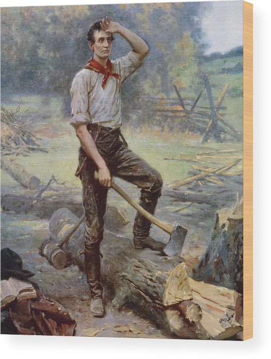 Abraham Lincoln Wood Print featuring the painting Abe Lincoln The Rail Splitter by War Is Hell Store