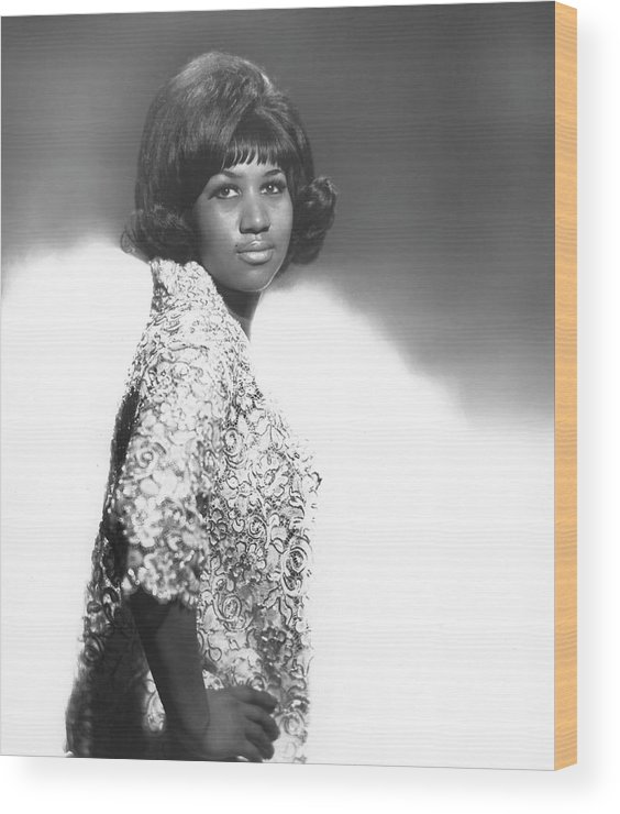 Singer Wood Print featuring the photograph Aretha Franklin Portrait by Michael Ochs Archives