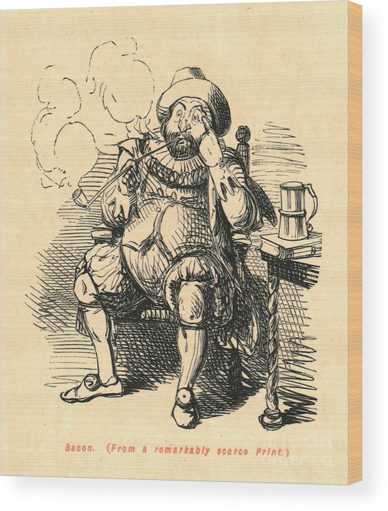 Smoking Wood Print featuring the drawing Bacon From A Remarkably Scarce Print by Print Collector