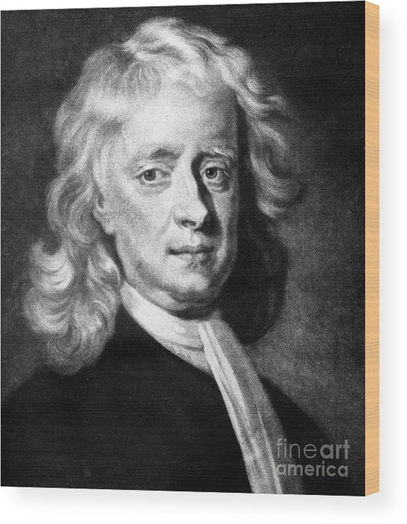 Physicist Wood Print featuring the drawing Isaac Newton 1642-1727, English by Print Collector
