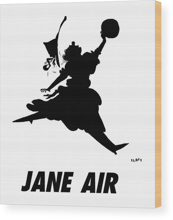 Jane Air Wood Print featuring the drawing Jane Air by Sara Lautman