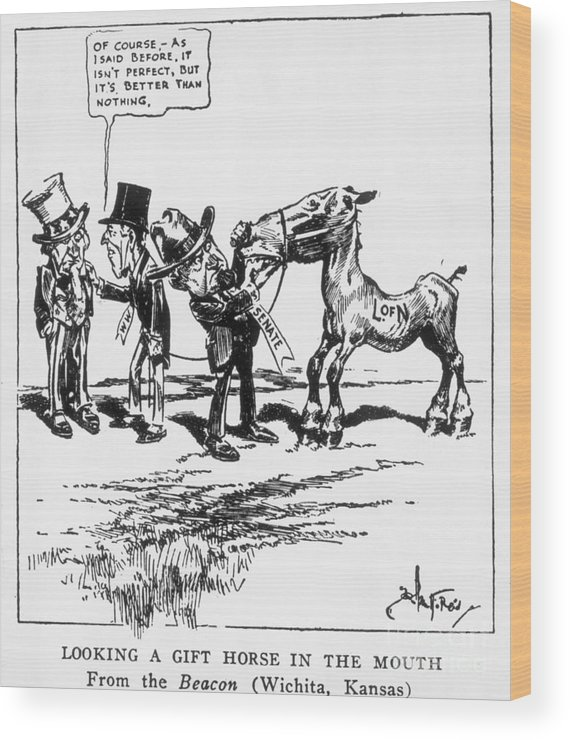People Wood Print featuring the photograph League Of Nations Political Cartoon by Bettmann