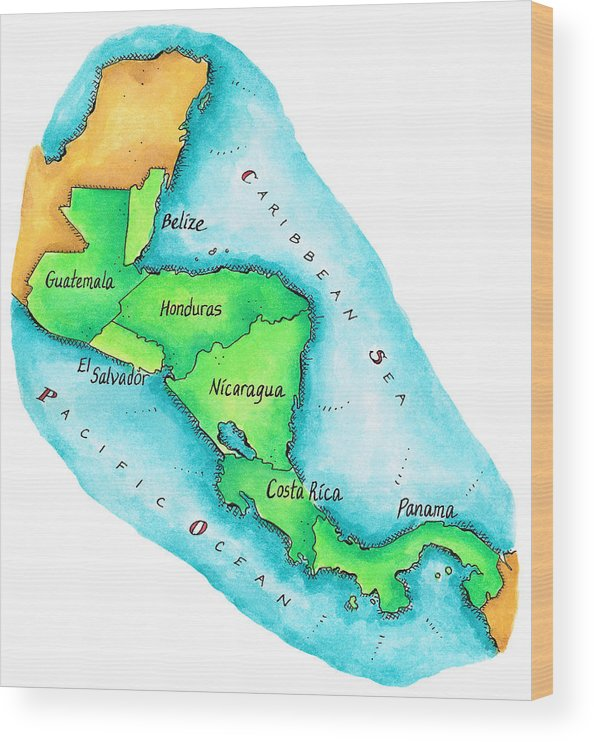 Watercolor Painting Wood Print featuring the digital art Map Of Central America by Jennifer Thermes