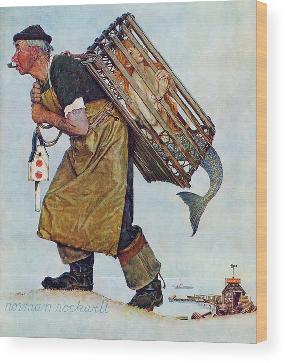 Lobsterman Wood Print featuring the drawing Mermaid by Norman Rockwell