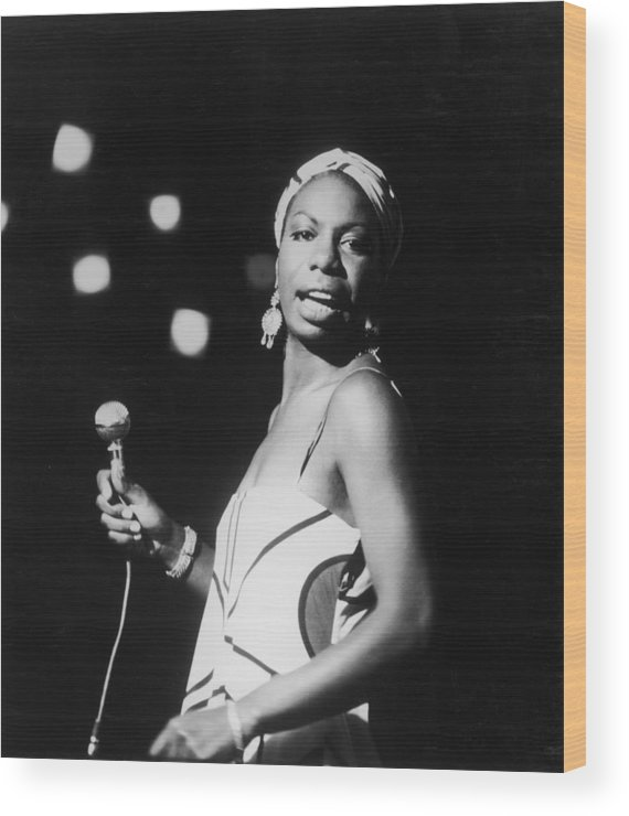 Nina Simone Wood Print featuring the photograph Nina In Concert by Hulton Archive