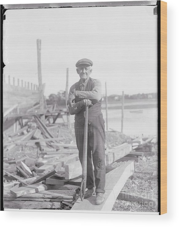 People Wood Print featuring the photograph Portrait Of A Shipyard Workman by Bettmann