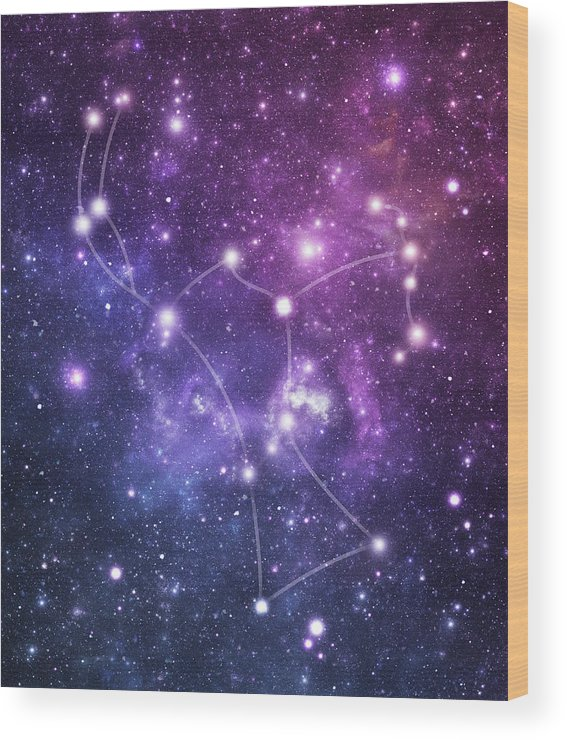 Black Color Wood Print featuring the photograph The Stars Constellation Of Orion by Sololos