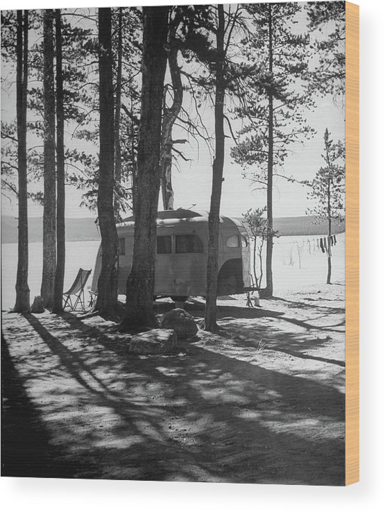 Timeincown Wood Print featuring the photograph Trailer Park In Yellowstone National by Alfred Eisenstaedt