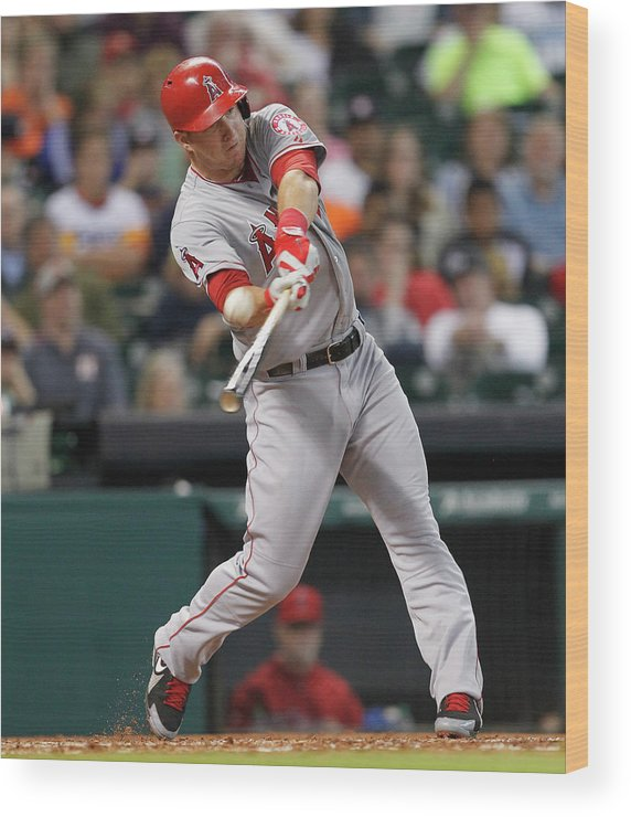 People Wood Print featuring the photograph Mike Trout by Bob Levey