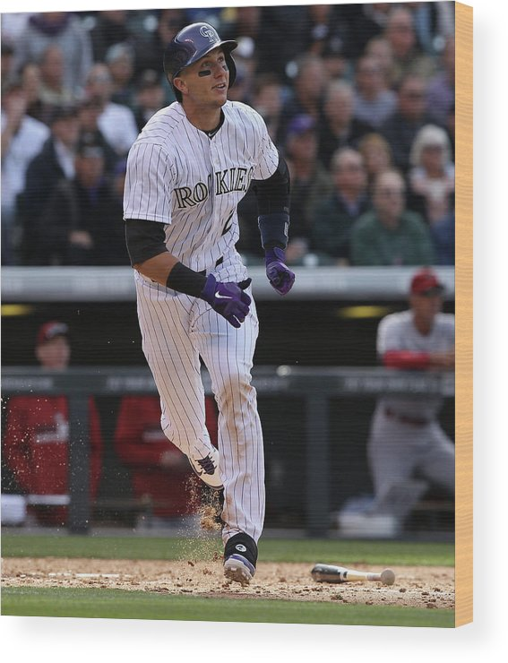 Shortstop Wood Print featuring the photograph Troy Tulowitzki by Doug Pensinger