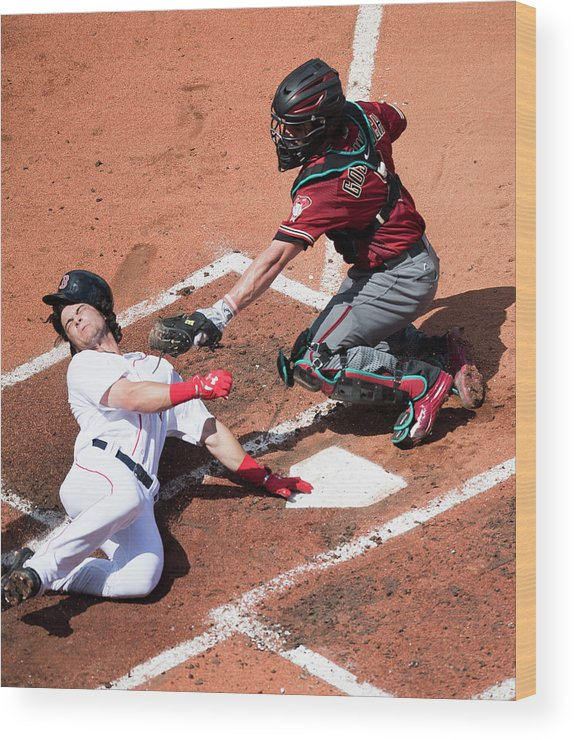 Second Inning Wood Print featuring the photograph Andrew Benintendi by Michael Ivins/boston Red Sox