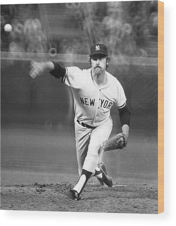 American League Baseball Wood Print featuring the photograph Catfish Hunter by Ronald C. Modra/sports Imagery