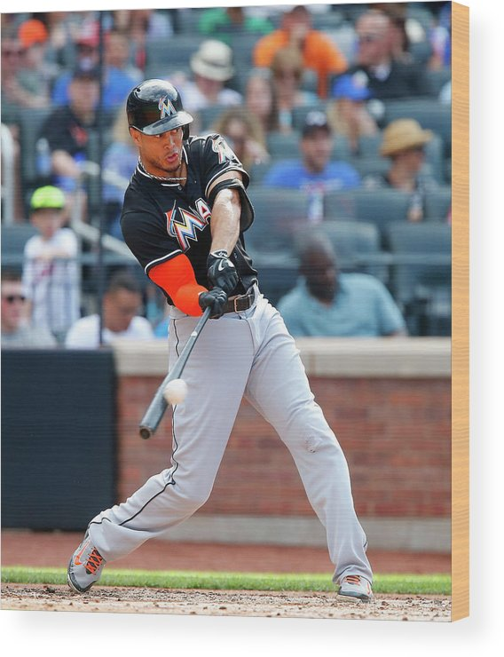 People Wood Print featuring the photograph Giancarlo Stanton by Jim Mcisaac