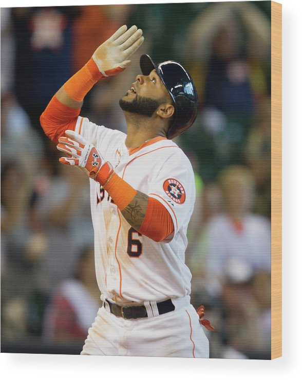 American League Baseball Wood Print featuring the photograph Jonathan Villar by Bob Levey