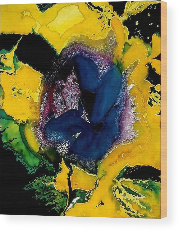 Flora Wood Print featuring the painting Lotus - Midnight Bloom by Ferril Nawir