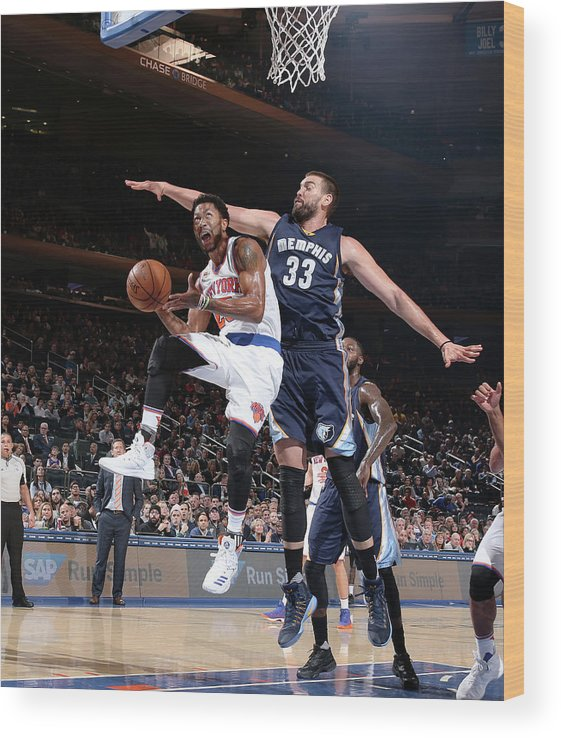 Nba Pro Basketball Wood Print featuring the photograph Marc Gasol and Derrick Rose by Nathaniel S. Butler