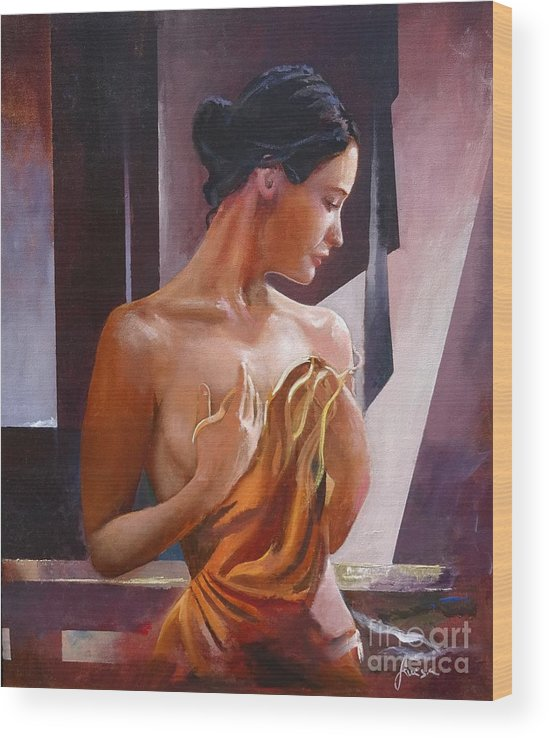 Female Figure Wood Print featuring the painting Morning Beauty by Sinisa Saratlic