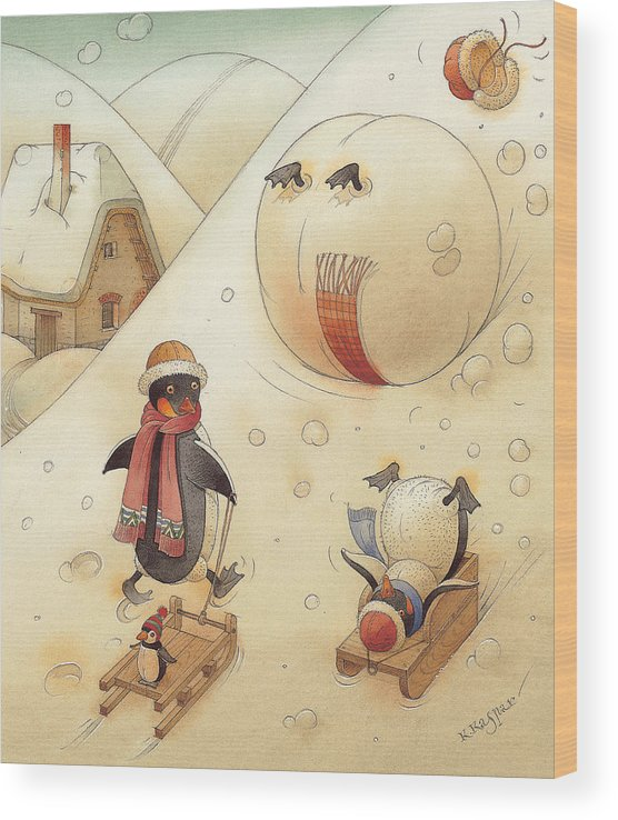 Penguins Christmas Winter Snow Sledding White Holiday Wood Print featuring the painting Penguins by Kestutis Kasparavicius